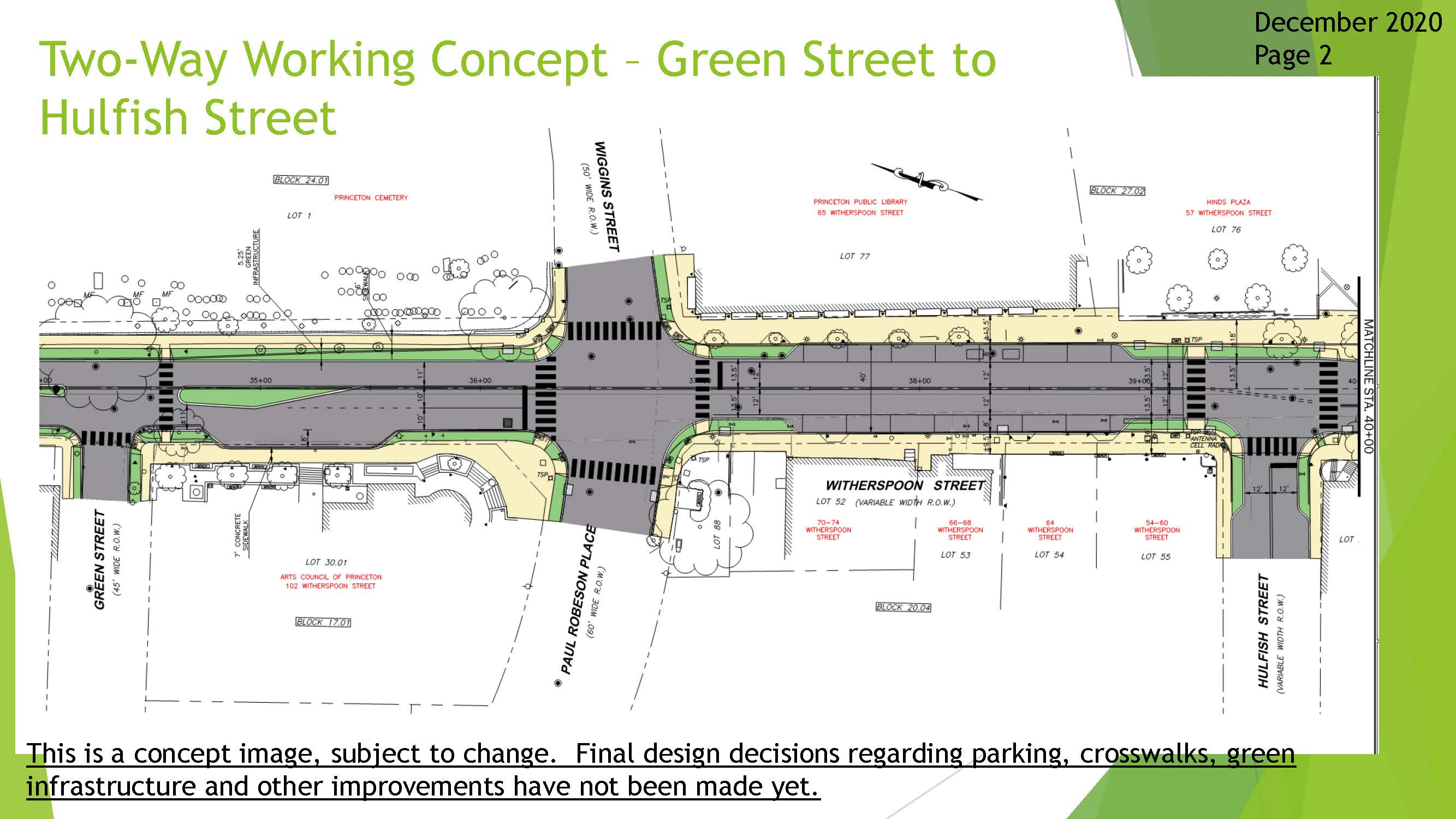 Two way Working Concept Drawing - Green Street to Hulfish Street