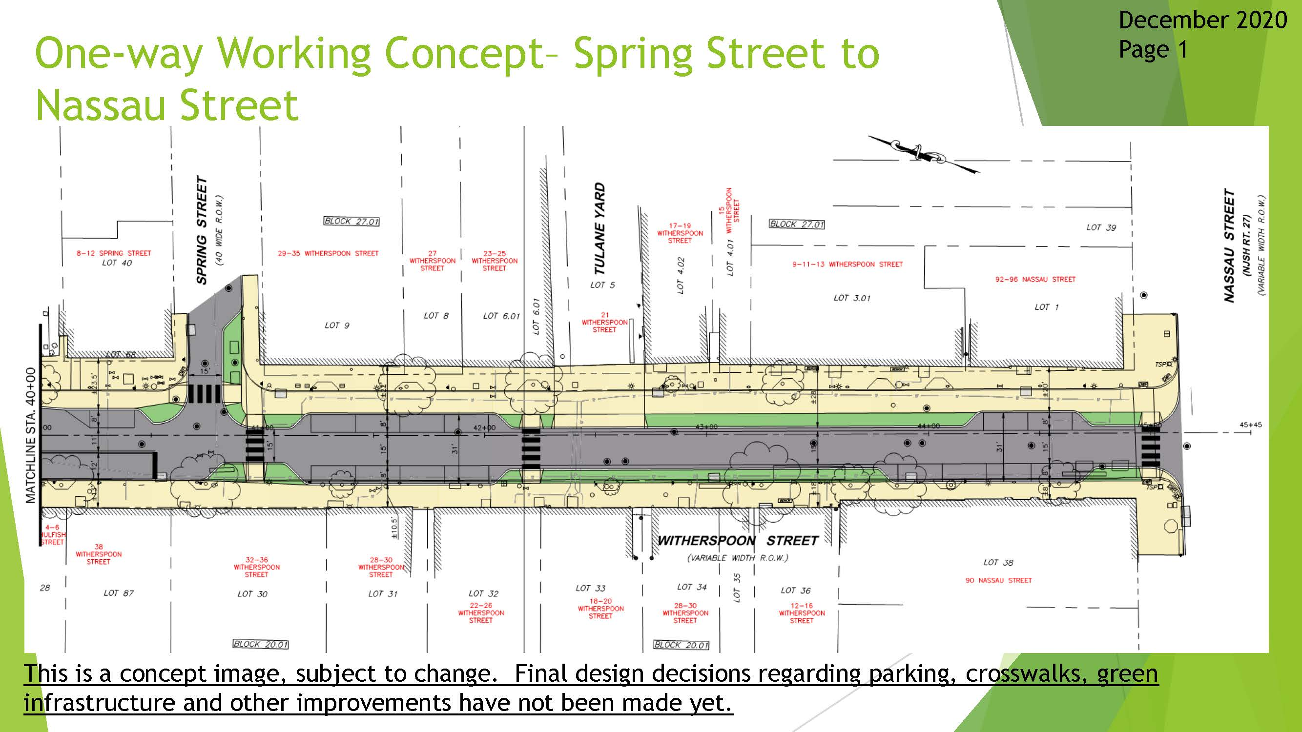 One Way Working Concept Drawing - Spring Street to Nassau Street